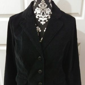 St Johns Bay Womens Black Corduroy 3 Button Blazer